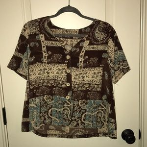 Tops - Printed Button Up Short Sleeve